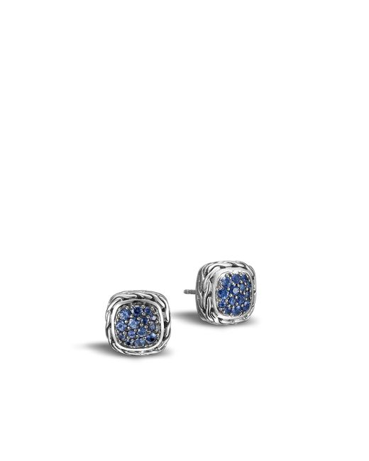 John Hardy - Classic Chain Stud Earring With Blue Sapphire - Lyst