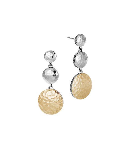 John Hardy - Metallic Dot Hammered 18k Yellow Gold & Sterling Silver Triple Drop Linear Earrings - Lyst