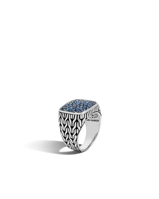 John Hardy | Classic Chain Signet Ring With Blue Sapphire for Men | Lyst