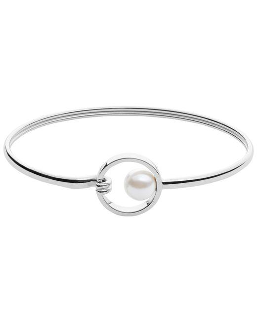 Skagen | Metallic Agnethe Faux Pearl Circle Bangle | Lyst