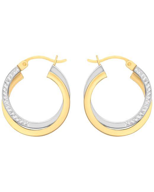 Ib&b - Metallic 9ct Gold Two Tone Diamond-cut Crossover Creole Earrings - Lyst