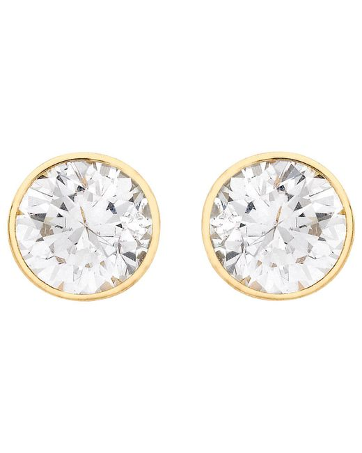 Ib&b - Metallic 9ct Gold Round Cubic Zirconia Stud Earrings - Lyst
