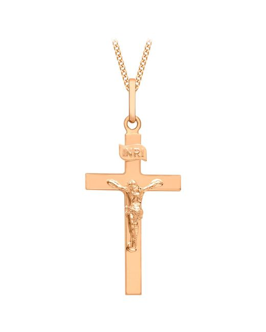 Ib&b | Metallic 9ct Rose Gold Cross Pendant | Lyst