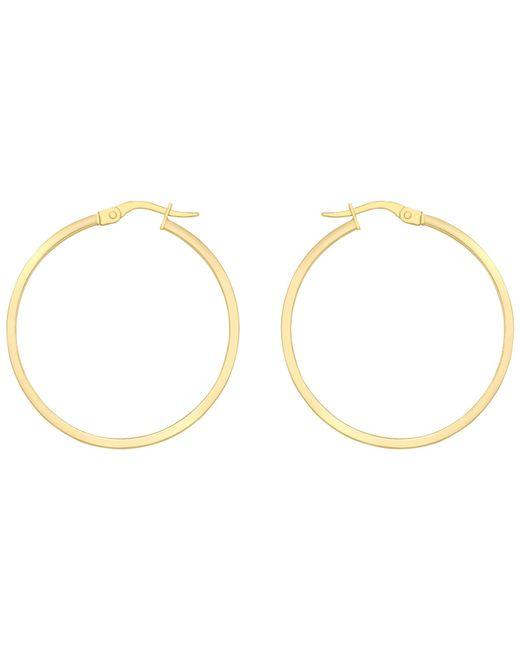 Ib&b | 18ct Yellow Gold Rectangular Tube Creole Earrings | Lyst