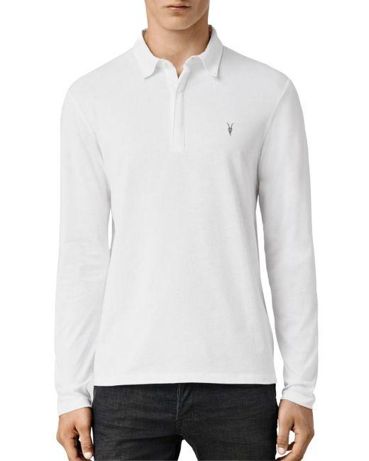 AllSaints | White Brace Long Sleeve Polo Shirt for Men | Lyst