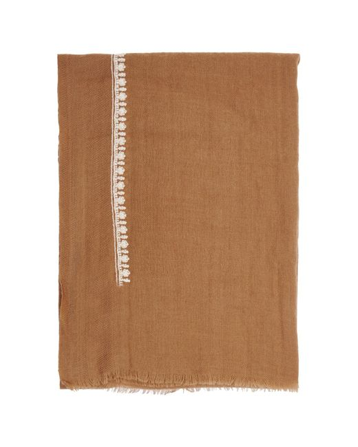 French Connection | Brown Dream Embroidered Wool Scarf | Lyst