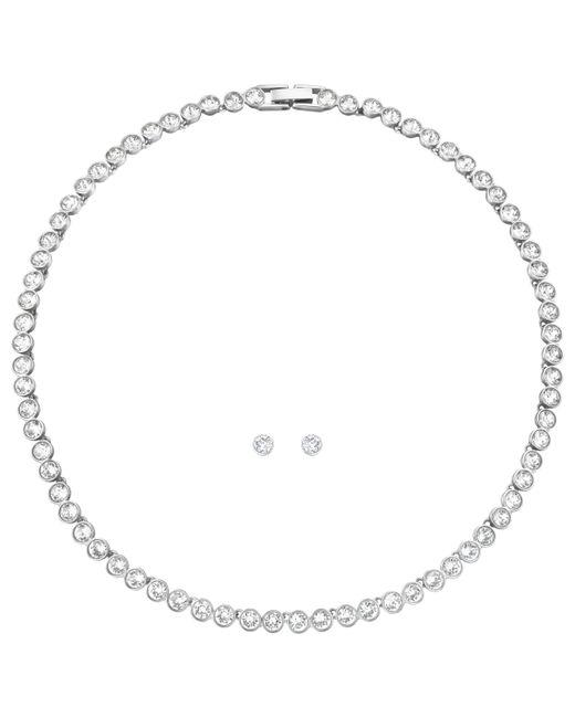 Swarovski - Metallic Tennis Necklace And Stud Earrings Jewellery Gift Set - Lyst