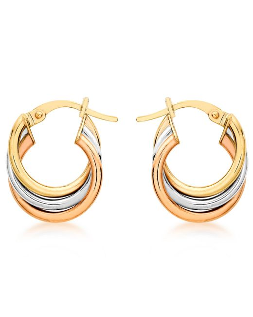 Ib&b | Multicolor 9ct Gold Three Colour Hoop Earrings | Lyst