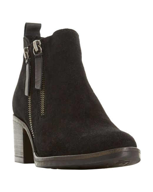 Dune | Black Pikton Block Heeled Ankle Boots | Lyst