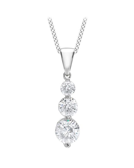 Ib&b - Metallic 9ct White Gold Curb Chain Trilogy Pendant Necklace - Lyst