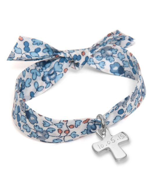Merci Maman - Blue Personalised Sterling Silver Cross Liberty Bracelet - Lyst