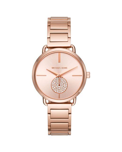 Michael Kors - Pink Mk3640 Women's Portia Crystal Bracelet Strap Watch - Lyst