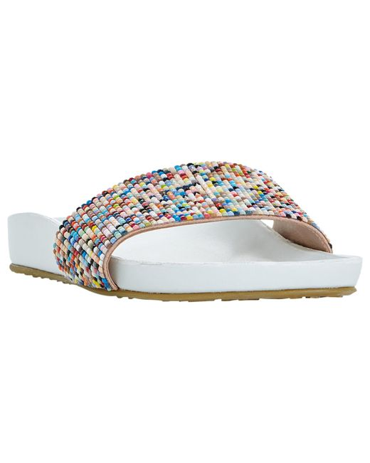 Dune | White Loveheart Beaded Slider Sandals | Lyst