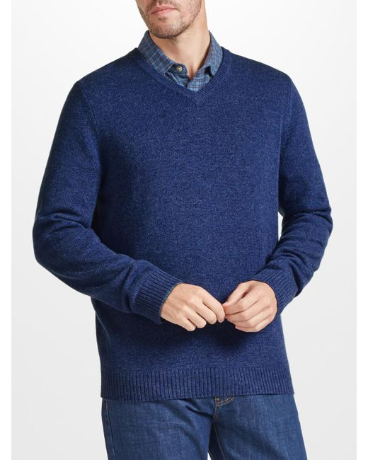 John Lewis | Blue Made In Italy Merino Cashmere V-neck Jumper for Men | Lyst