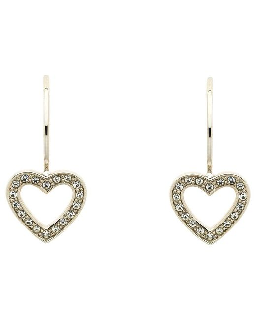 Melissa Odabash - Metallic Swarovski Crystal Hook Heart Drop Earrings - Lyst