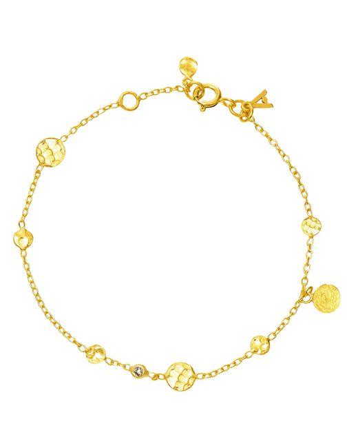 Auren - Metallic 18ct Gold Vermeil Small Hammered Disc And Diamond Drop Bracelet - Lyst