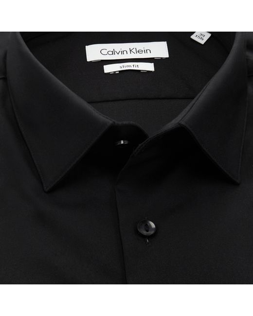 Calvin klein stretch poplin slim fit shirt in black for for Calvin klein slim fit stretch shirt