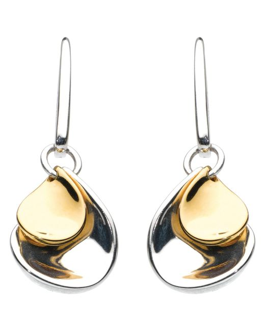 Kit Heath | Metallic Double Petal Sterling Silver 18Ct Gold Plated Drop Earrings | Lyst