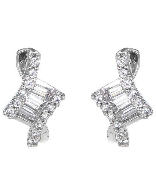 Ib&b - Metallic 9ct White Gold Cubic Zirconia Stud Earrings - Lyst