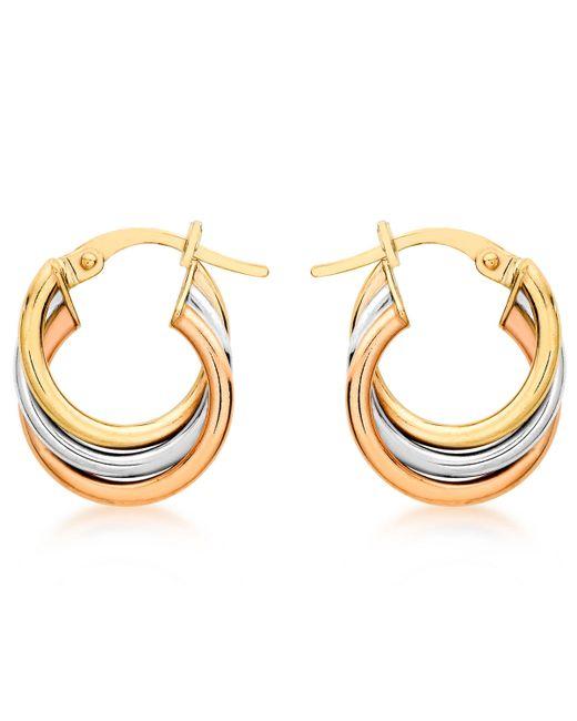 Ib&b - Multicolor 9ct Gold Three Colour Hoop Earrings - Lyst