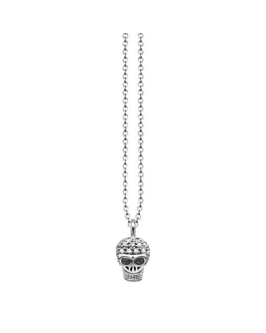 Thomas Sabo - Metallic Rebel Diamonds Sterling Silver Skull Necklace - Lyst