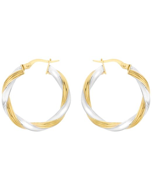 Ib&b - Metallic 9ct Gold Two Colour Creole Twist Earrings - Lyst