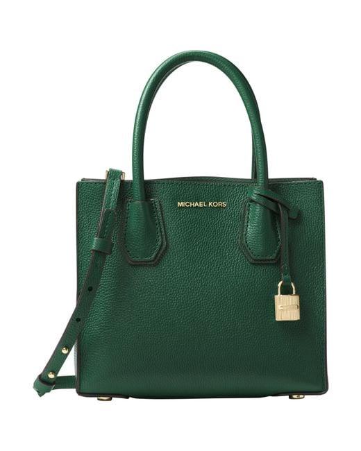 Michael Kors Mercer Leather Messenger Bag In Green Moss