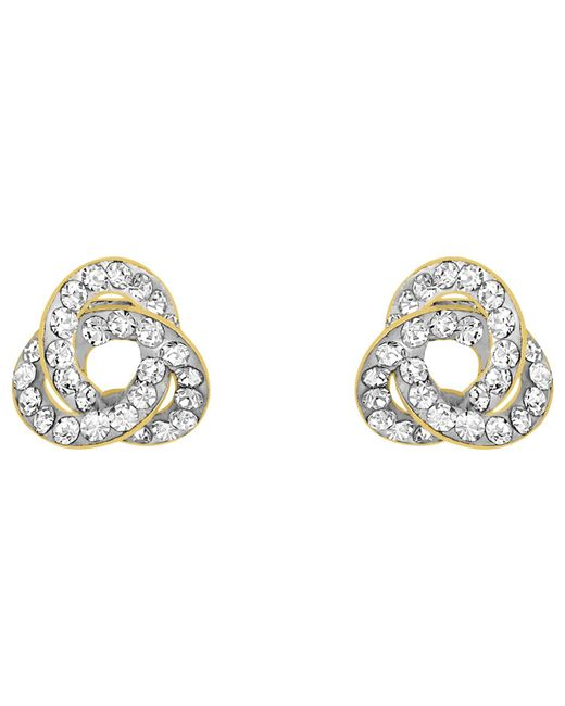 Ib&b | Metallic 9ct Yellow Gold Crystalique Knot Stud Earrings | Lyst