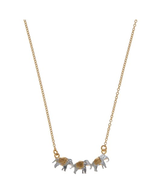 Alex Monroe | Metallic 22ct Gold Vermeil Elephant Trio Necklace | Lyst