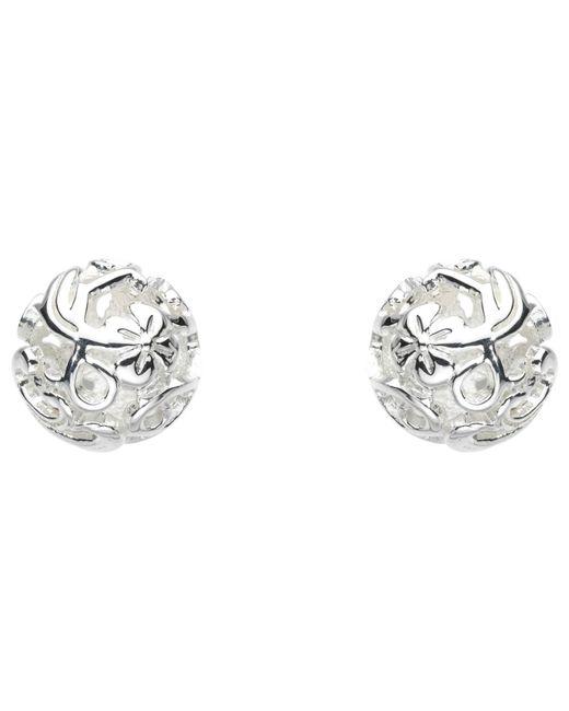 Kit Heath   Metallic Sterling Silver Carved Ball Stud Earrings   Lyst