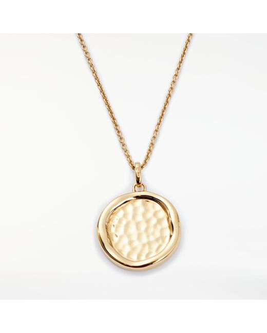 Modern Rarity - Metallic Hammered Disc Pendant Necklace - Lyst