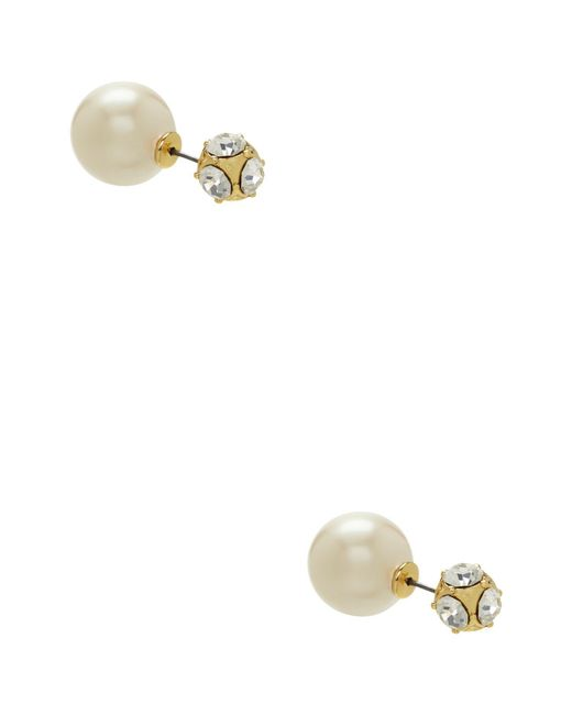 Kate Spade - Metallic Glass Stone And Faux Pearl Reversible Stud Earrings - Lyst
