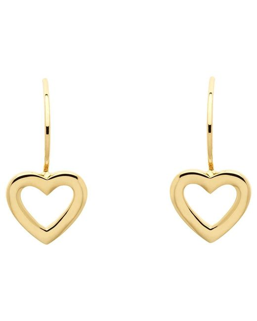 Melissa Odabash | Metallic Gold Plated Hook Heart Drop Earrings | Lyst