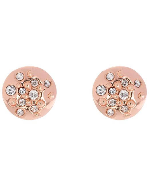 Karen Millen | Pink Sprinkle Crystal Stud Earrings | Lyst