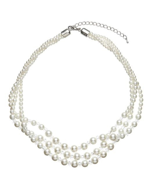 John Lewis   White Three Row Graduating Faux Pearl And Bead Twist Necklace   Lyst