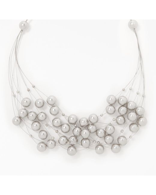 John Lewis | Gray Graduated Faux Pearl Wire Necklace | Lyst