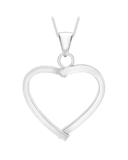 Ib&b | 9ct White Gold Mini Square Tube Heart Pendant | Lyst