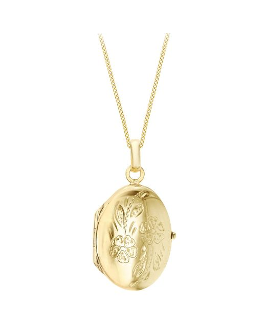 Ib&b | Metallic 9ct Yellow Gold Daisy Oval Locket Pendant Necklace | Lyst