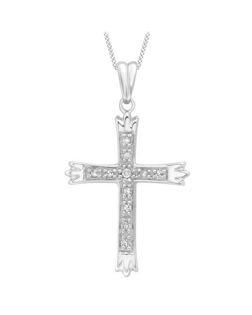 Ib&b   Metallic 9ct White Gold Cubic Zirconia Cross Pendant   Lyst