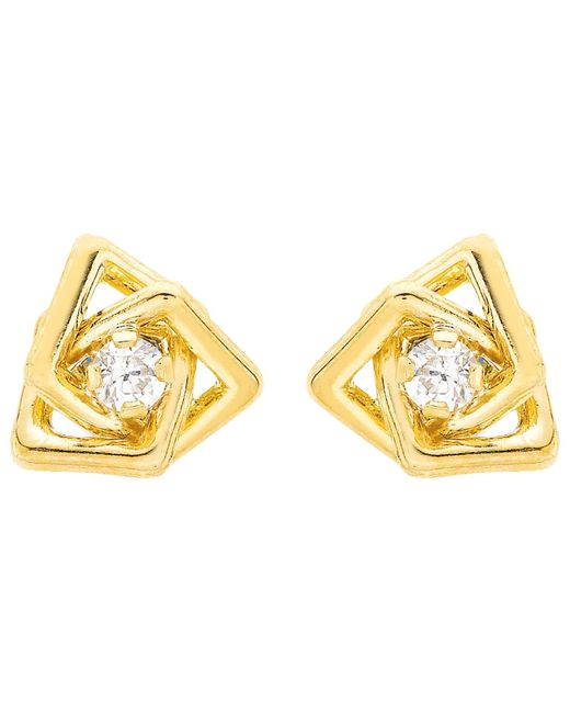 Ib&b | Metallic 9ct Yellow Gold Cubic Zirconia Triple Square Stud Earrings | Lyst