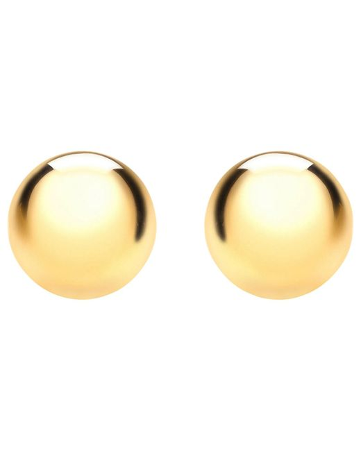 Ib&b | Metallic 9ct Yellow Gold 8mm Ball Stud Earrings | Lyst