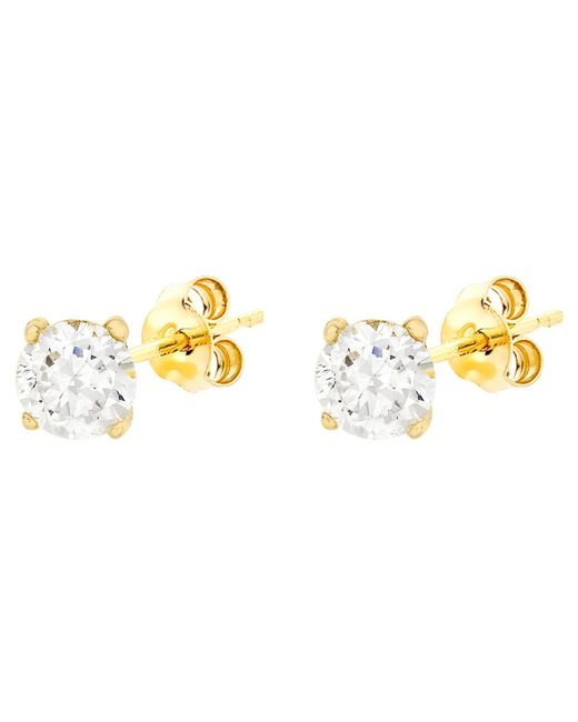 Ib&b | 9ct Yellow Gold Cubic Zirconia Stud Earrings | Lyst