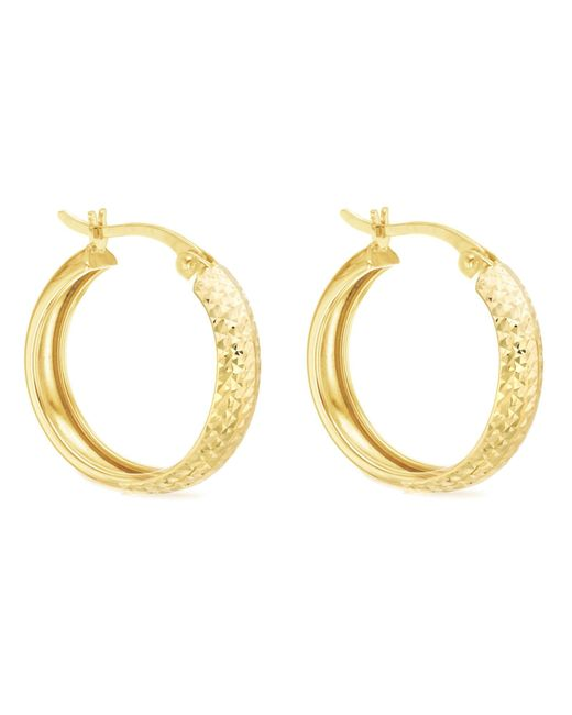 Ib&b | Metallic 9ct Yellow Gold Diamond Cut Creole Earrings | Lyst