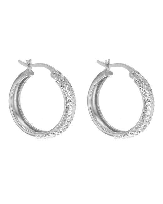 Ib&b | 9ct White Gold Diamond Cut Creole Earrings | Lyst