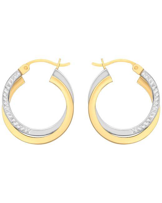 Ib&b | Metallic 9ct Gold Two Tone Diamond-cut Crossover Creole Earrings | Lyst