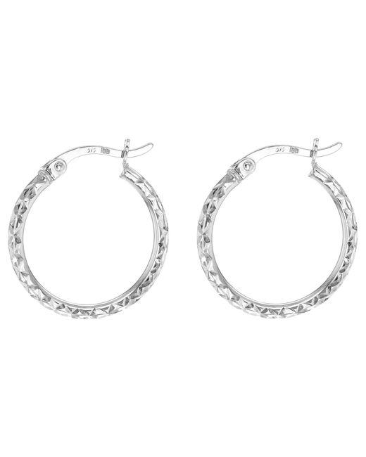 Ib&b | 9ct White Gold Diamond Cut Creole Hoop Earrings | Lyst