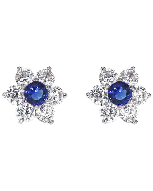 Ib&b | Metallic 9ct White Gold Flower Cubic Zirconia Stud Earrings | Lyst