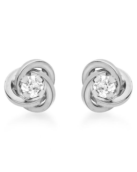 Ib&b | Metallic 9ct White Gold Cubic Zirconia Knot Stud Earrings | Lyst