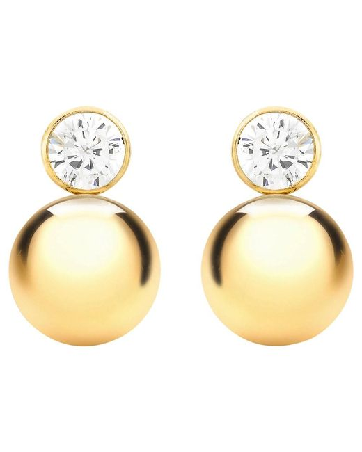 Ib&b | Metallic 9ct Yellow Gold Cubic Zirconia Ball Stud Earrings | Lyst