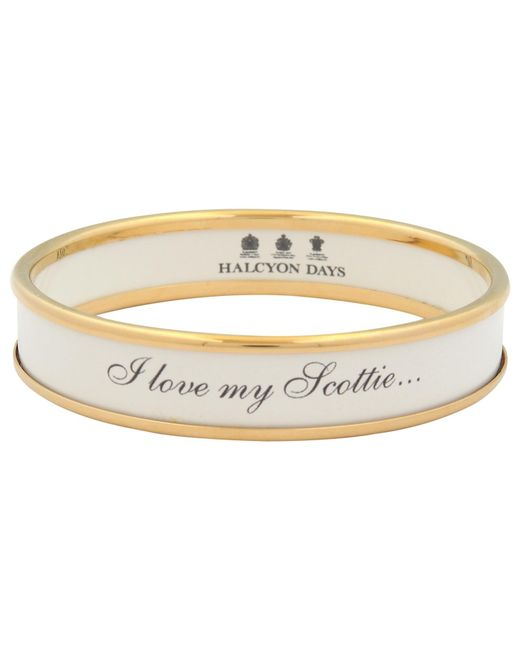 Halcyon Days | White I Love My Scottie Enamel Bangle | Lyst